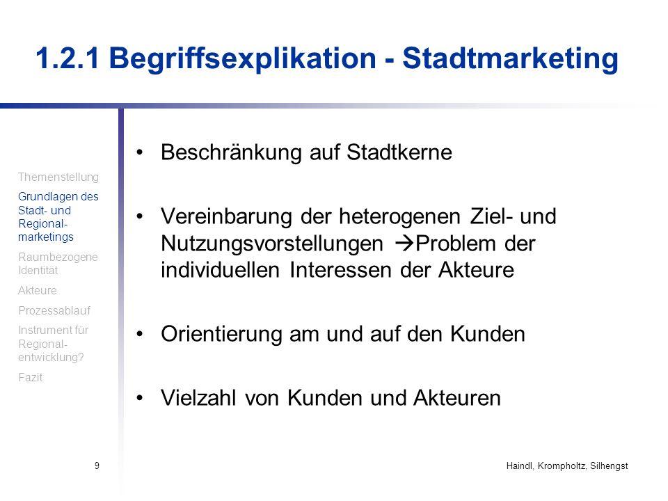 Haindl, Krompholtz, Silhengst9 1.2.1 Begriffsexplikation - Stadtmarketing Beschränkung auf Stadtkerne Vereinbarung der heterogenen Ziel- und Nutzungsv
