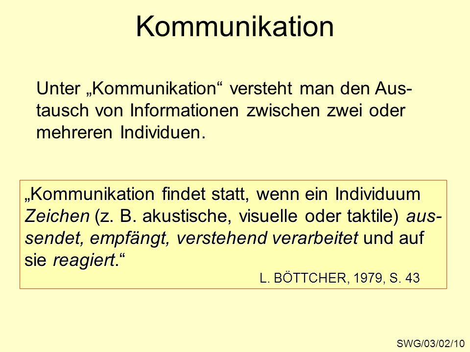 Kommunikation SWG/03/02/10 Unter Kommunikation versteht man den Aus- tausch von Informationen zwischen zwei oder mehreren Individuen. Kommunikation fi