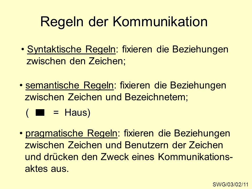 Regeln der Kommunikation SWG/03/02/11 Syntaktische Regeln: fixieren die Beziehungen zwischen den Zeichen; semantische Regeln: fixieren die Beziehungen