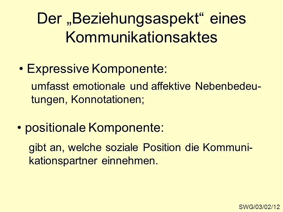 Der Beziehungsaspekt eines Kommunikationsaktes SWG/03/02/12 Expressive Komponente: Expressive Komponente: positionale Komponente: positionale Komponen