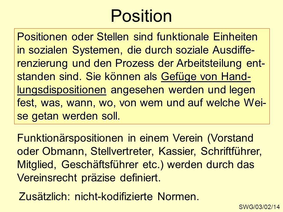 Position SWG/03/02/14 Positionen oder Stellen sind funktionale Einheiten in sozialen Systemen, die durch soziale Ausdiffe- renzierung und den Prozess