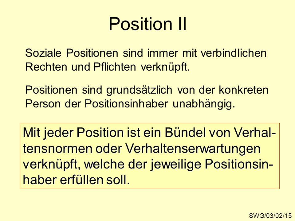 Position II SWG/03/02/15 Soziale Positionen sind immer mit verbindlichen Rechten und Pflichten verknüpft. Positionen sind grundsätzlich von der konkre