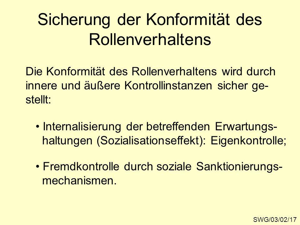 Sicherung der Konformität des Rollenverhaltens SWG/03/02/17 Die Konformität des Rollenverhaltens wird durch innere und äußere Kontrollinstanzen sicher