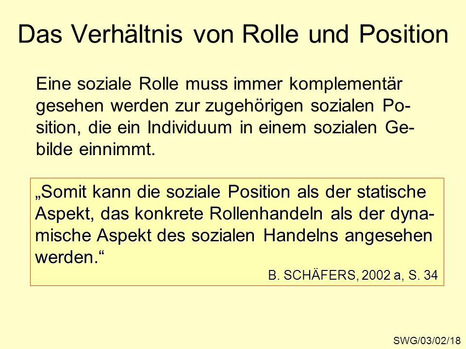 Das Verhältnis von Rolle und Position SWG/03/02/18 Eine soziale Rolle muss immer komplementär gesehen werden zur zugehörigen sozialen Po- sition, die