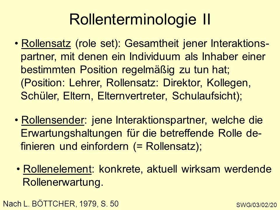 SWG/03/02/20 Rollenterminologie II Rollensatz (role set): Gesamtheit jener Interaktions- partner, mit denen ein Individuum als Inhaber einer bestimmte