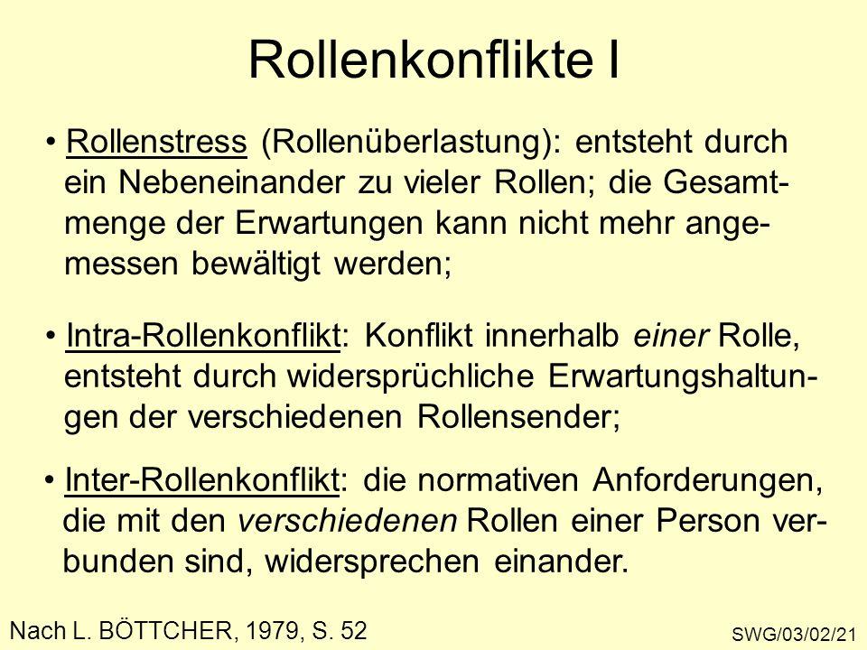 Rollenkonflikte I SWG/03/02/21 Rollenstress (Rollenüberlastung): entsteht durch ein Nebeneinander zu vieler Rollen; die Gesamt- menge der Erwartungen