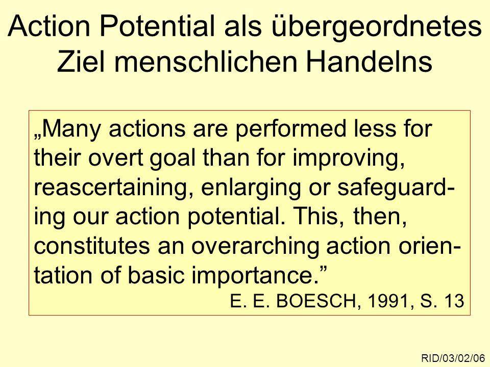 Die Leistung der Arbeit am eigenen Action Potential RID/03/02/07 Das permanente Üben des eigenen Handlungspotentials ist ein entscheiden- des Mittel zur Entwicklung und Aufrecht- erhaltung der Ego-Identität und des Selbstwertgefühls einer Person.