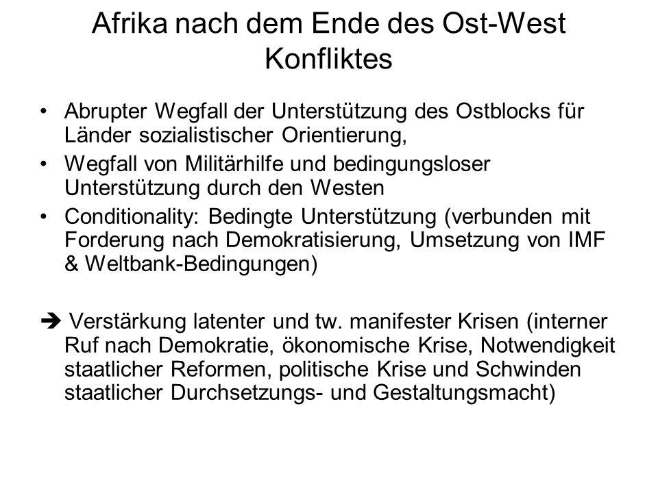 Afrika nach dem Ende des Ost-West Konfliktes Abrupter Wegfall der Unterstützung des Ostblocks für Länder sozialistischer Orientierung, Wegfall von Mil