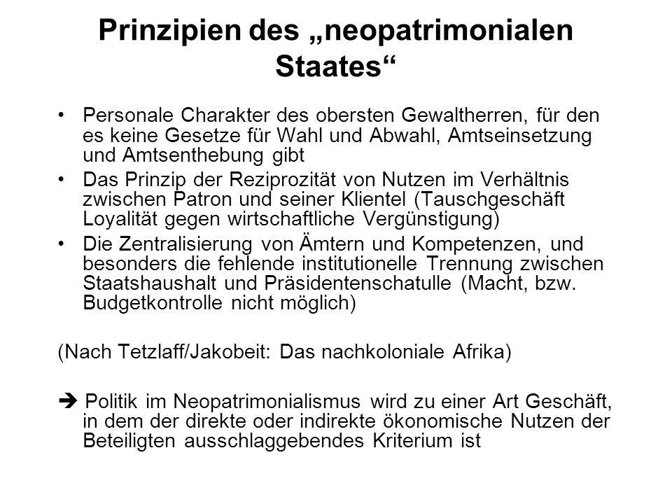 Prinzipien des neopatrimonialen Staates Personale Charakter des obersten Gewaltherren, für den es keine Gesetze für Wahl und Abwahl, Amtseinsetzung un