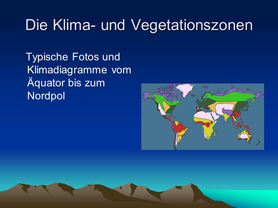 Die Klima- und Vegetationszonen Typische Fotos und Klimadiagramme vom Äquator bis zum Nordpol