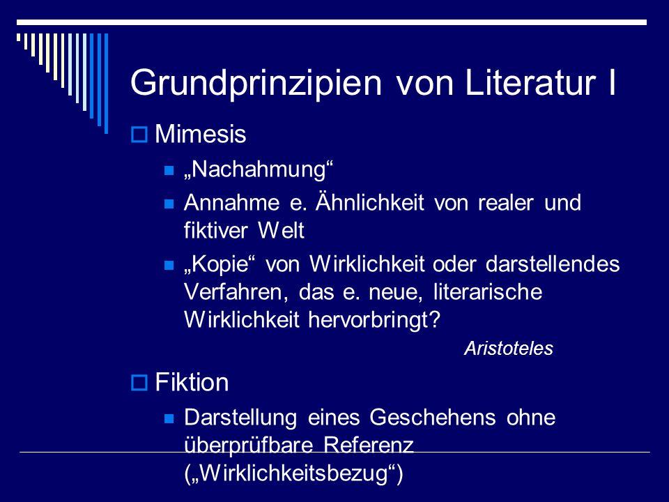 Grundprinzipien von Literatur I Mimesis Nachahmung Annahme e. Ähnlichkeit von realer und fiktiver Welt Kopie von Wirklichkeit oder darstellendes Verfa