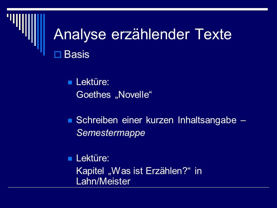 Analyse erzählender Texte Basis Lektüre: Goethes Novelle Schreiben einer kurzen Inhaltsangabe – Semestermappe Lektüre: Kapitel Was ist Erzählen? in La