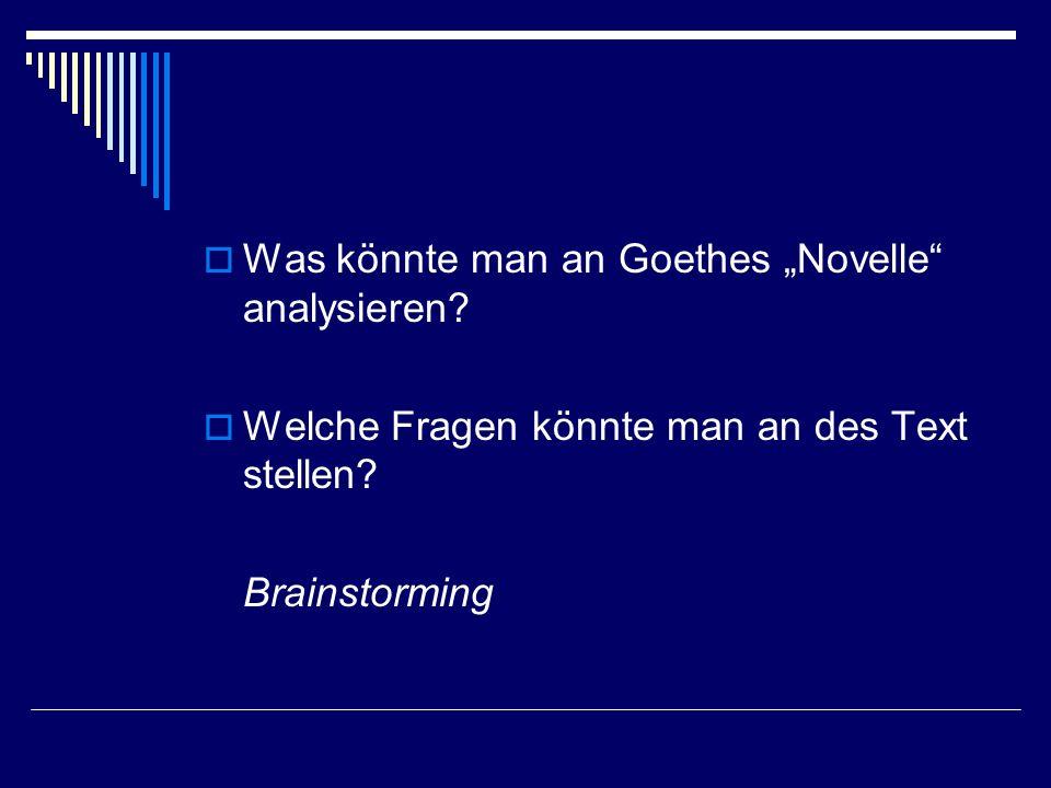 Was könnte man an Goethes Novelle analysieren? Welche Fragen könnte man an des Text stellen? Brainstorming