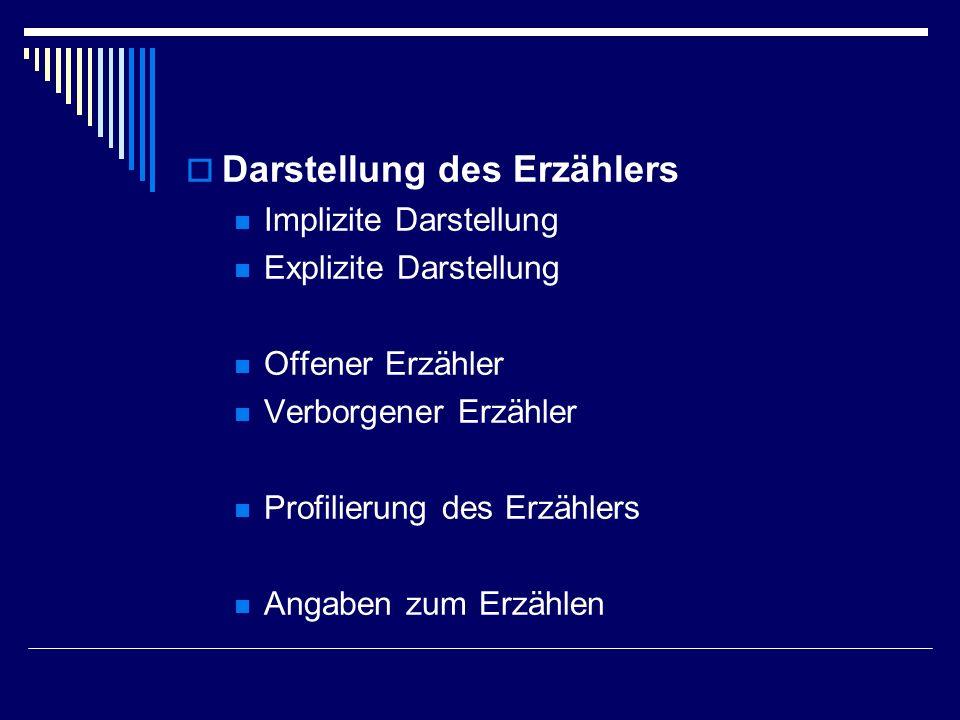 Darstellung des Erzählers Implizite Darstellung Explizite Darstellung Offener Erzähler Verborgener Erzähler Profilierung des Erzählers Angaben zum Erz