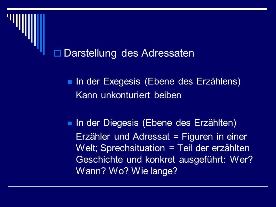 Darstellung des Adressaten In der Exegesis (Ebene des Erzählens) Kann unkonturiert beiben In der Diegesis (Ebene des Erzählten) Erzähler und Adressat