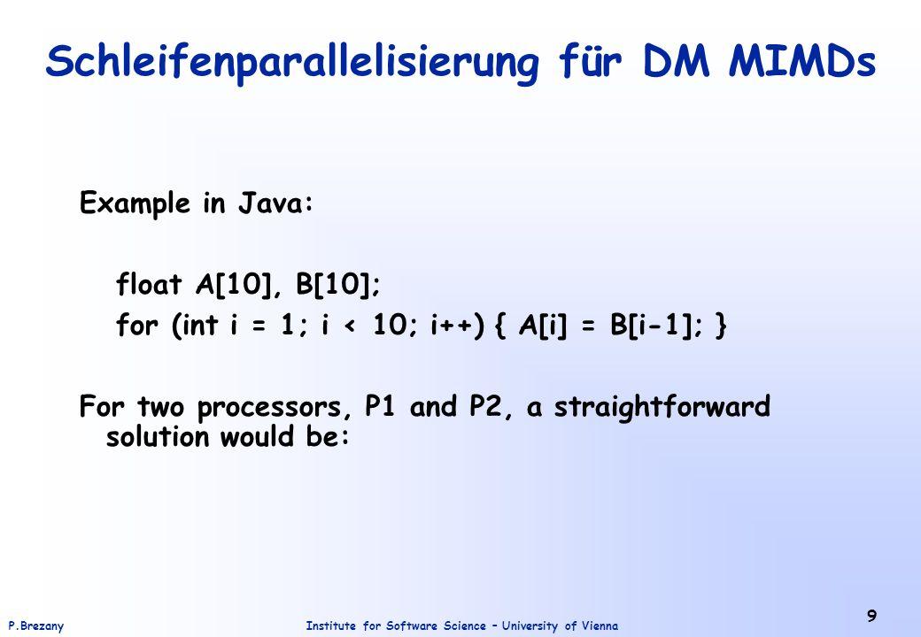 Institute for Software Science – University of ViennaP.Brezany 10 Schleifenparallelisierung für DM MIMDs