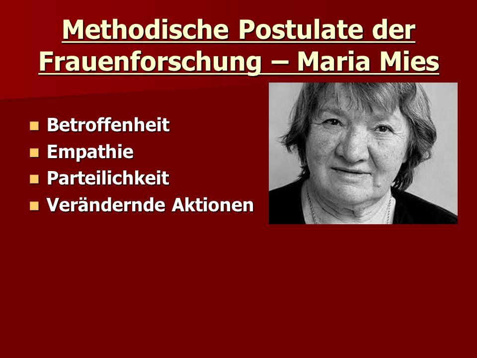 Methodische Postulate der Frauenforschung – Maria Mies Betroffenheit Betroffenheit Empathie Empathie Parteilichkeit Parteilichkeit Verändernde Aktione