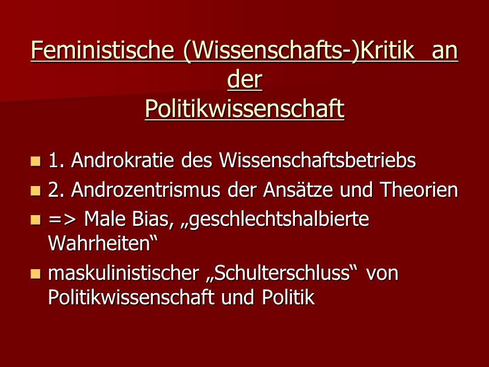 Feministische (Wissenschafts-)Kritik an der Politikwissenschaft 1. Androkratie des Wissenschaftsbetriebs 1. Androkratie des Wissenschaftsbetriebs 2. A