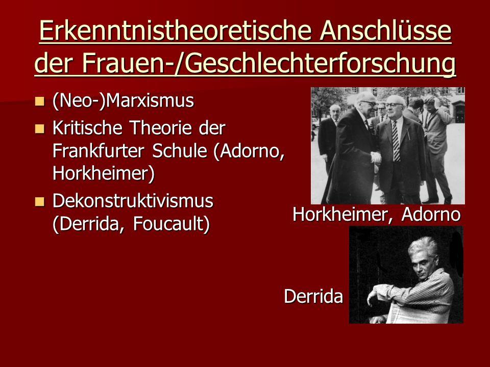 Erkenntnistheoretische Anschlüsse der Frauen-/Geschlechterforschung (Neo-)Marxismus (Neo-)Marxismus Kritische Theorie der Frankfurter Schule (Adorno,
