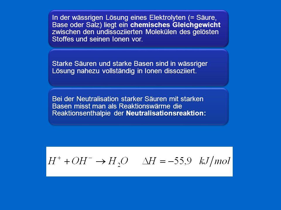 In der wässrigen Lösung eines Elektrolyten (= Säure, Base oder Salz) liegt ein chemisches Gleichgewicht zwischen den undissoziierten Molekülen des gel