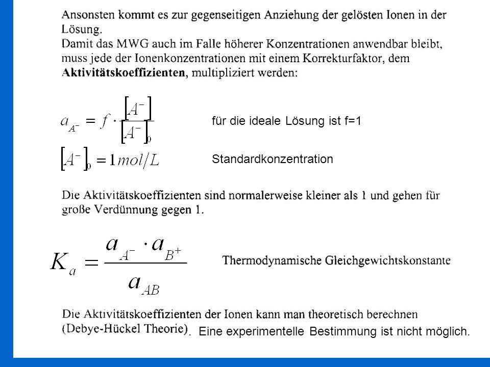 Standardkonzentration für die ideale Lösung ist f=1. Eine experimentelle Bestimmung ist nicht möglich.