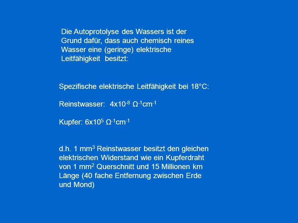 Spezifische elektrische Leitfähigkeit bei 18°C: Reinstwasser: 4x10 -8 Ω -1 cm -1 Kupfer: 6x10 5 Ω -1 cm -1 d.h. 1 mm 3 Reinstwasser besitzt den gleich