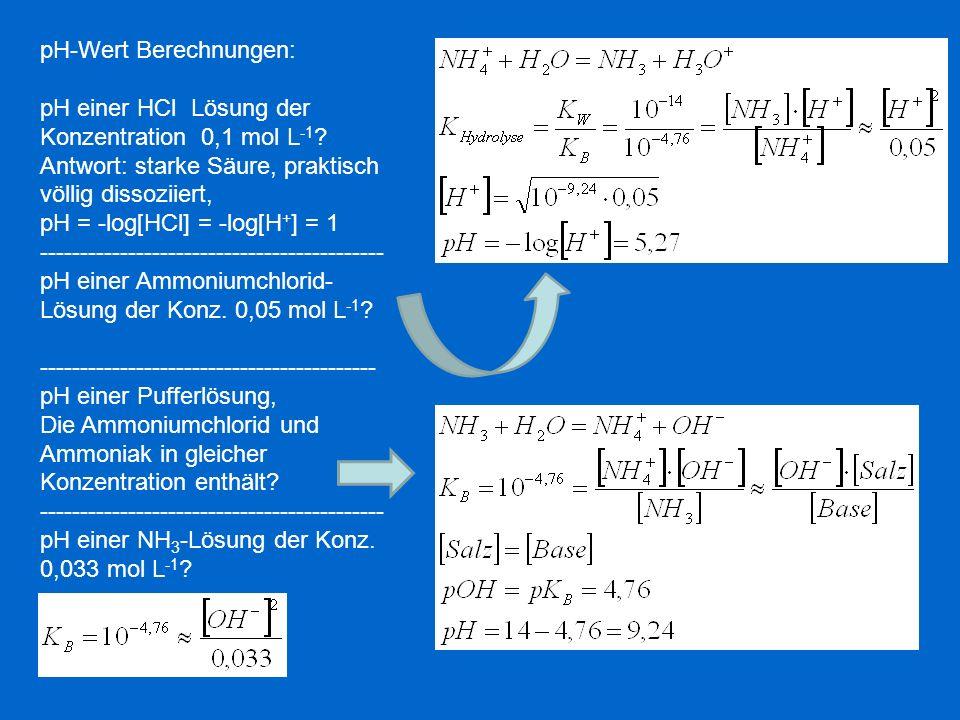 pH-Wert Berechnungen: pH einer HCl Lösung der Konzentration 0,1 mol L -1 ? Antwort: starke Säure, praktisch völlig dissoziiert, pH = -log[HCl] = -log[