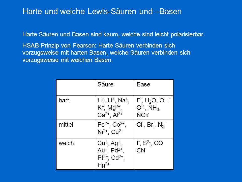 Harte und weiche Lewis-Säuren und –Basen Harte Säuren und Basen sind kaum, weiche sind leicht polarisierbar. HSAB-Prinzip von Pearson: Harte Säuren ve