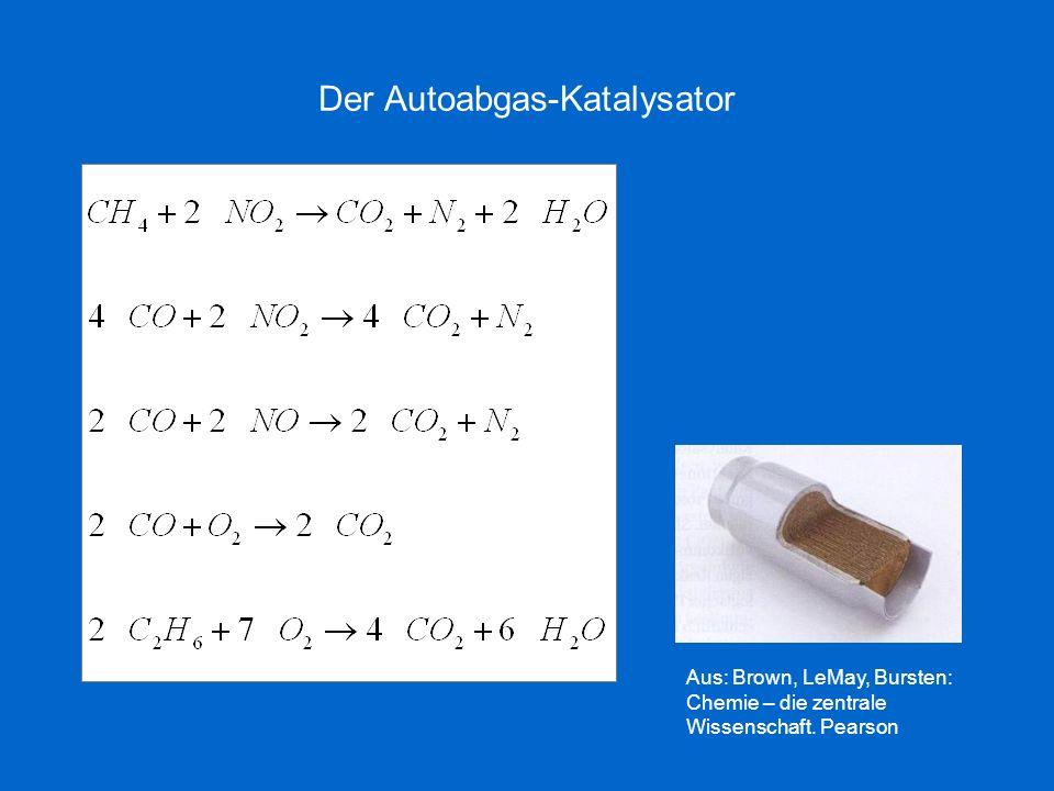 Der Autoabgas-Katalysator Aus: Brown, LeMay, Bursten: Chemie – die zentrale Wissenschaft. Pearson