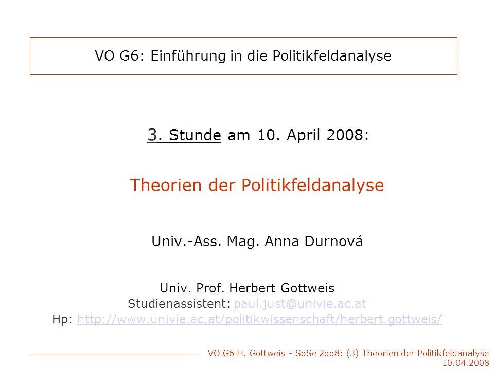 Überblick über die Vorlesung Theorie als Beobachtungsrahmen der Politikfeldanalyse Wichtigsten Entwicklungsphasen (1960er, 1970er, 1980er, …) Verbindung Theorie – Modelle - Praxis VO G6 H.