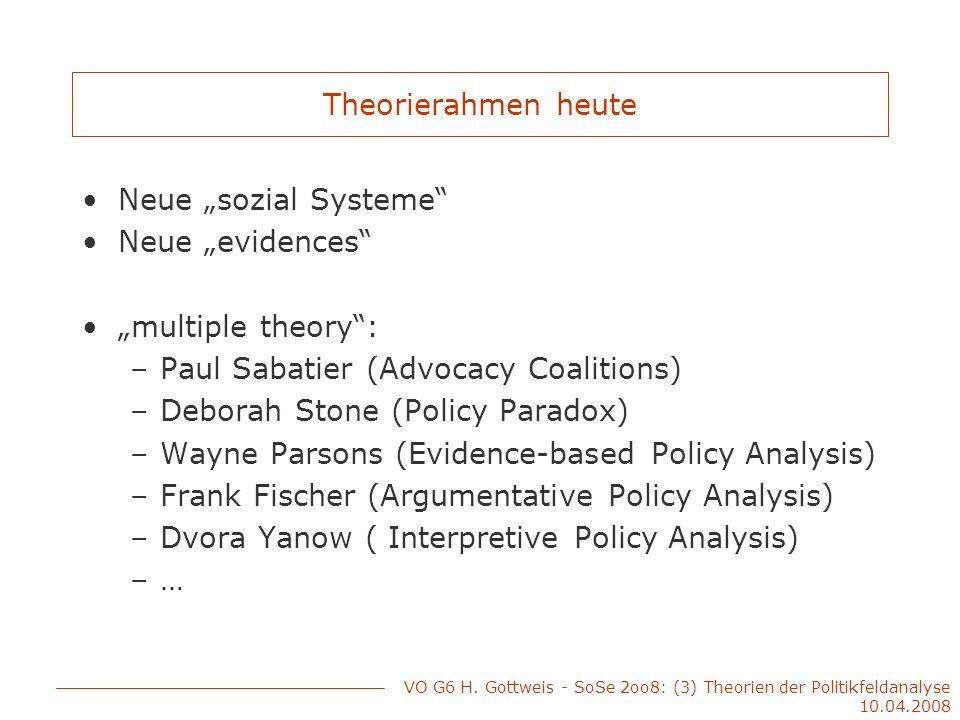 Theorierahmen heute Neue sozial Systeme Neue evidences multiple theory: –Paul Sabatier (Advocacy Coalitions) –Deborah Stone (Policy Paradox) –Wayne Pa
