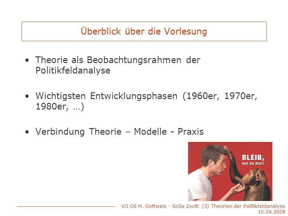 Überblick über die Vorlesung Theorie als Beobachtungsrahmen der Politikfeldanalyse Wichtigsten Entwicklungsphasen (1960er, 1970er, 1980er, …) Verbindu