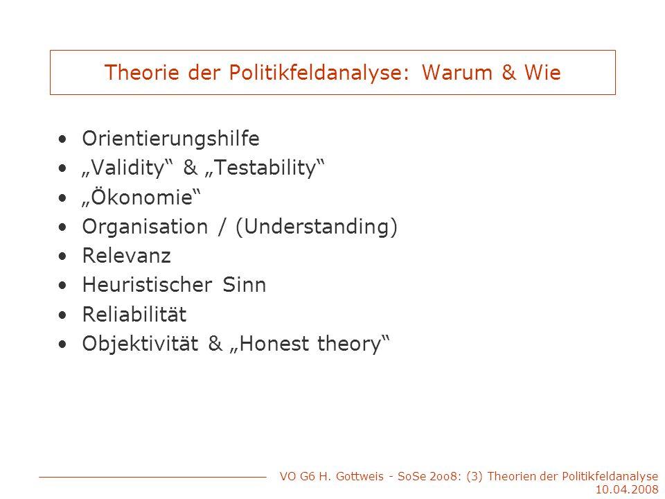 Theorie der Politikfeldanalyse: Warum & Wie Orientierungshilfe Validity & Testability Ökonomie Organisation / (Understanding) Relevanz Heuristischer S