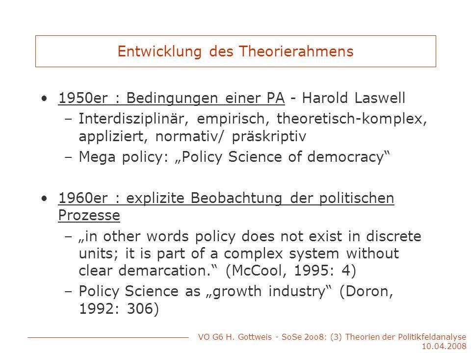 Entwicklung des Theorierahmens 1950er : Bedingungen einer PA - Harold Laswell –Interdisziplinär, empirisch, theoretisch-komplex, appliziert, normativ/