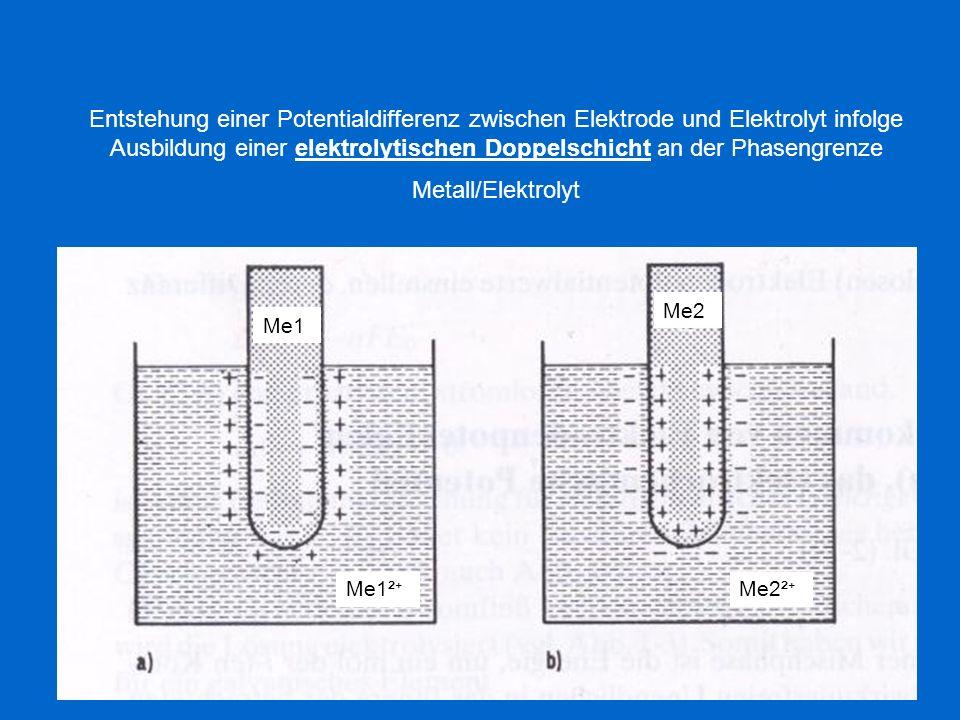 Entstehung einer Potentialdifferenz zwischen Elektrode und Elektrolyt infolge Ausbildung einer elektrolytischen Doppelschicht an der Phasengrenze Meta