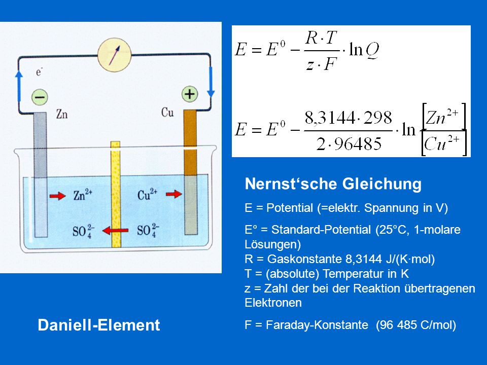 Nernstsche Gleichung E = Potential (=elektr. Spannung in V) E° = Standard-Potential (25°C, 1-molare Lösungen) R = Gaskonstante 8,3144 J/(Kmol) T = (ab