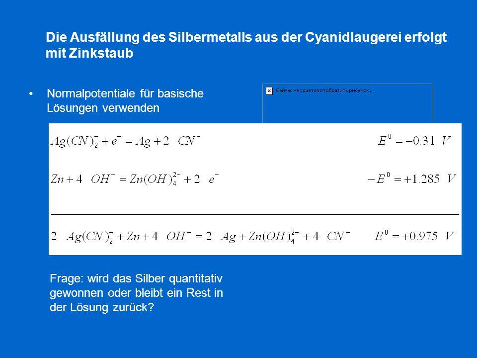 Die Ausfällung des Silbermetalls aus der Cyanidlaugerei erfolgt mit Zinkstaub Normalpotentiale für basische Lösungen verwenden Frage: wird das Silber