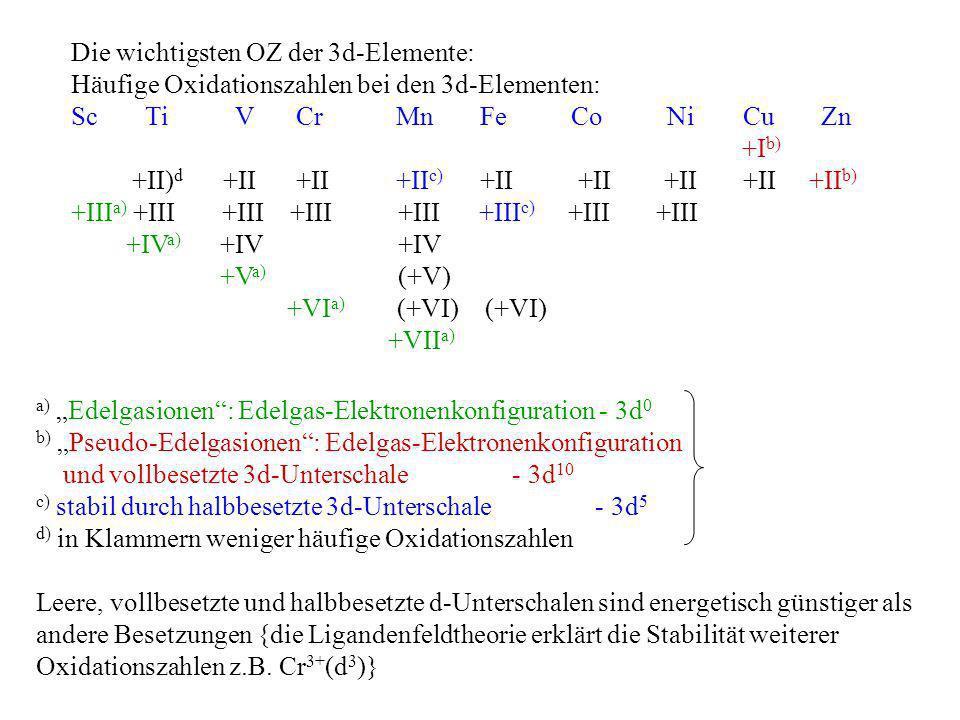Leere, vollbesetzte und halbbesetzte d-Unterschalen sind energetisch günstiger als andere Besetzungen {die Ligandenfeldtheorie erklärt die Stabilität