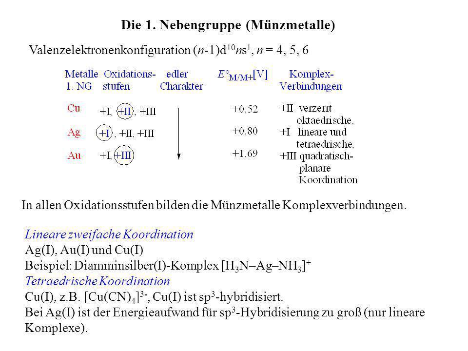 Die 1. Nebengruppe (Münzmetalle) Valenzelektronenkonfiguration (n-1)d 10 ns 1, n = 4, 5, 6 In allen Oxidationsstufen bilden die Münzmetalle Komplexver