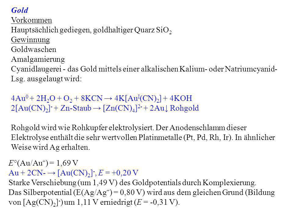 Gold Vorkommen Hauptsächlich gediegen, goldhaltiger Quarz SiO 2 Gewinnung Goldwaschen Amalgamierung Cyanidlaugerei - das Gold mittels einer alkalische