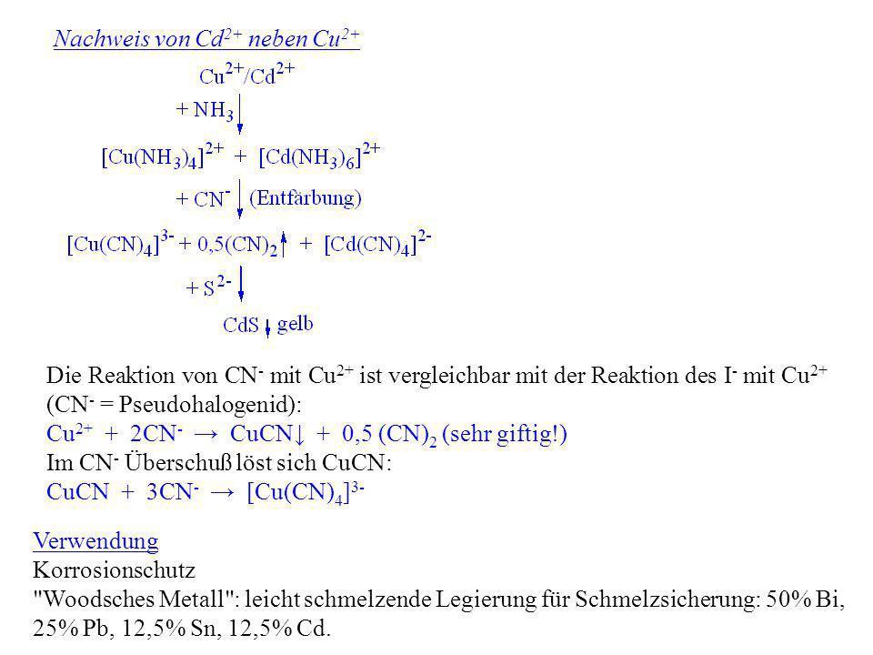 Nachweis von Cd 2+ neben Cu 2+ Die Reaktion von CN - mit Cu 2+ ist vergleichbar mit der Reaktion des I - mit Cu 2+ (CN - = Pseudohalogenid): Cu 2+ + 2