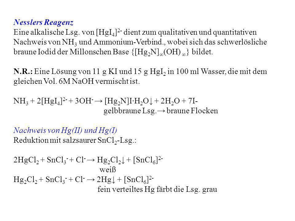 Nesslers Reagenz Eine alkalische Lsg. von [HgI 4 ] 2- dient zum qualitativen und quantitativen Nachweis von NH 3 und Ammonium-Verbind., wobei sich das