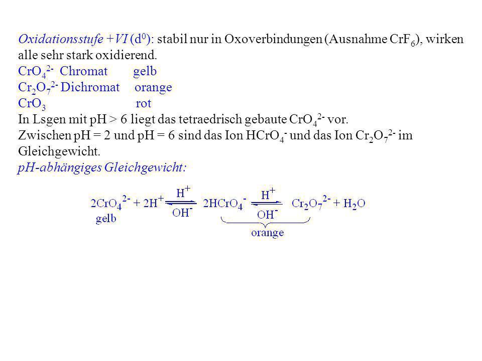 Oxidationsstufe +VI (d 0 ): stabil nur in Oxoverbindungen (Ausnahme CrF 6 ), wirken alle sehr stark oxidierend. CrO 4 2- Chromat gelb Cr 2 O 7 2- Dich