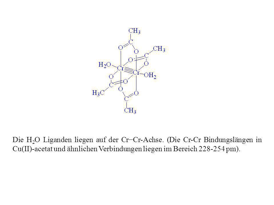Die H 2 O Liganden liegen auf der CrCr-Achse. (Die Cr-Cr Bindungslängen in Cu(II)-acetat und ähnlichen Verbindungen liegen im Bereich 228-254 pm).