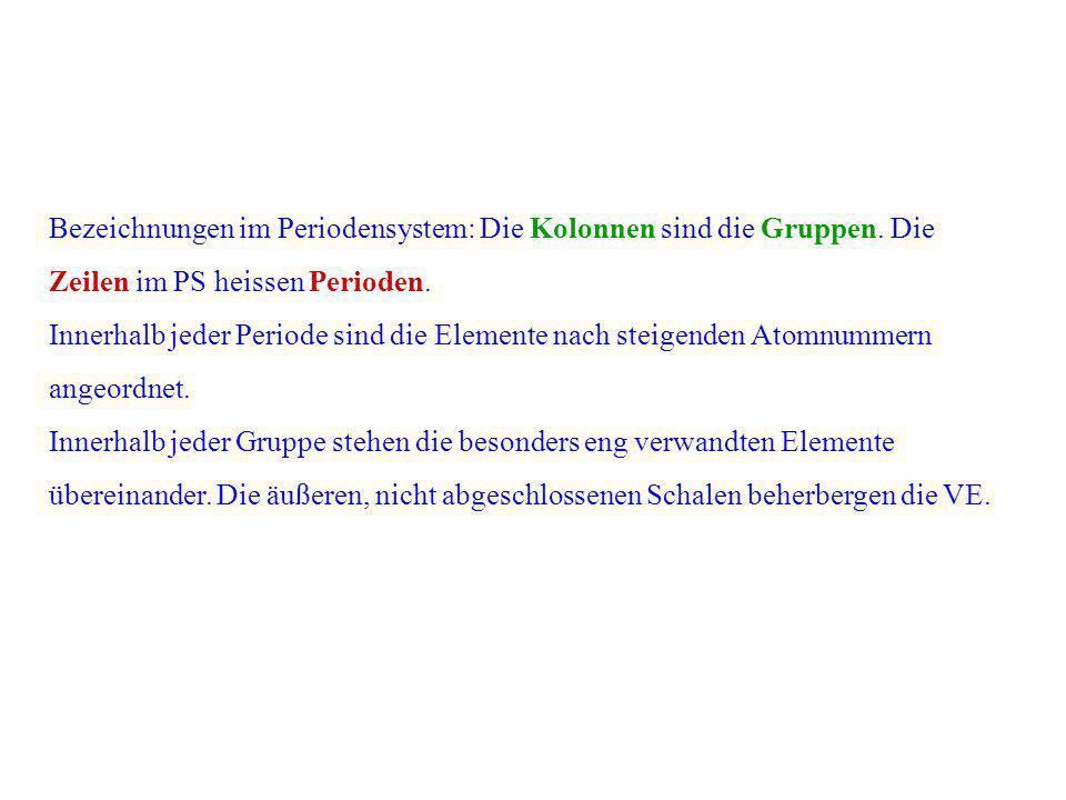 Bezeichnungen im Periodensystem: Die Kolonnen sind die Gruppen. Die Zeilen im PS heissen Perioden. Innerhalb jeder Periode sind die Elemente nach stei