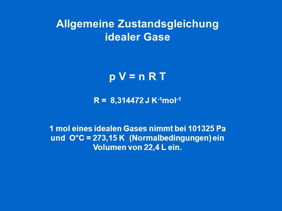Allgemeine Zustandsgleichung idealer Gase p V = n R T R = 8,314472 J K -1 mol -1 1 mol eines idealen Gases nimmt bei 101325 Pa und O°C = 273,15 K (Normalbedingungen) ein Volumen von 22,4 L ein.