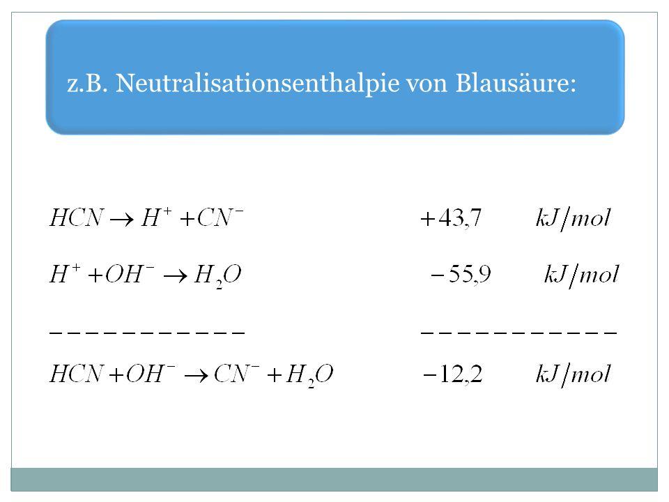 z.B. Neutralisationsenthalpie von Blausäure:
