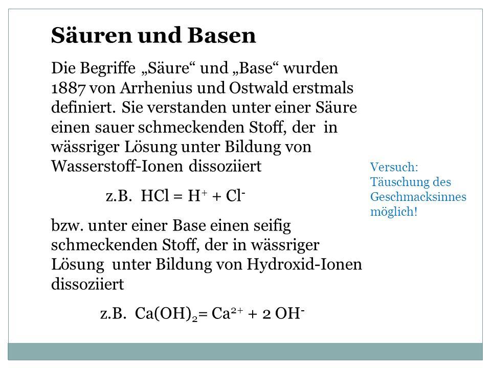 Säuren und Basen Die Begriffe Säure und Base wurden 1887 von Arrhenius und Ostwald erstmals definiert.