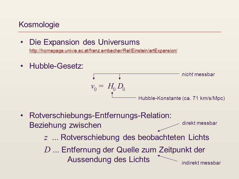 Kosmologie Die Expansion des Universums http://homepage.univie.ac.at/franz.embacher/Rel/Einstein/artExpansion/ http://homepage.univie.ac.at/franz.emba