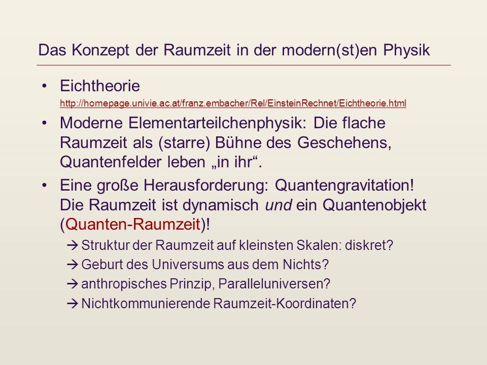 Das Konzept der Raumzeit in der modern(st)en Physik Eichtheorie http://homepage.univie.ac.at/franz.embacher/Rel/EinsteinRechnet/Eichtheorie.html http: